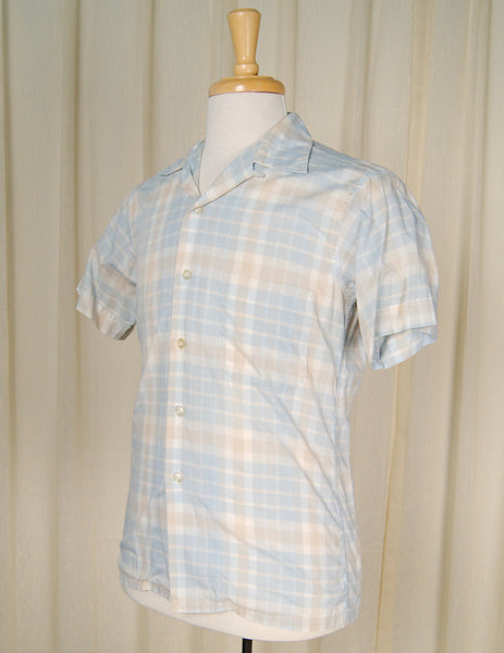 1950s SS Blue Plaid Loop Shirt by Cats Like Us - Cats Like Us