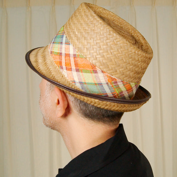 1950s Straw Madras Plaid Hat by Cats Like Us - Cats Like Us