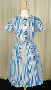 1950s Striped Pocket Day Dress