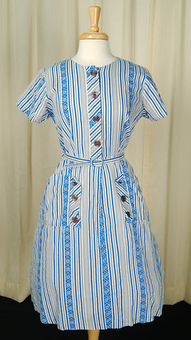 1950s Striped Pocket Day Dress by Cats Like Us : Cats Like Us
