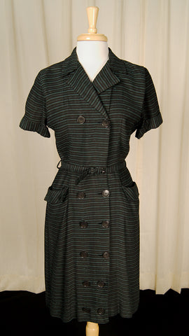 1950s Striped Shirt Pinup Dress by Vintage Collection by Cats Like Us - Cats Like Us