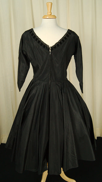 1950s Taffeta Velvet Dress by Vintage Collection by Cats Like Us - Cats Like Us