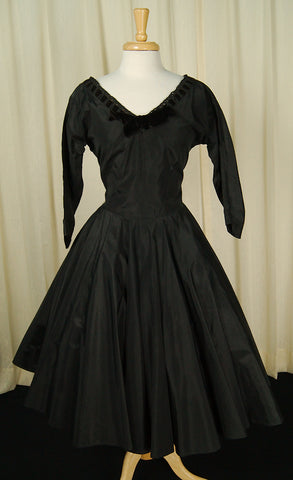 1950s Taffeta Velvet Dress by Cats Like Us : Cats Like Us