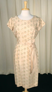 1950s Tan Floral Emb Dress - Cats Like Us