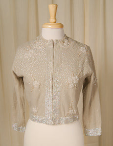 1950s Taupe Beaded Cardigan by Vintage Collection by Cats Like Us : Cats Like Us