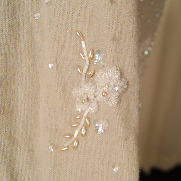 1950s Taupe Beaded Cardigan