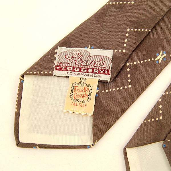 1950s Taupe Geometric Dot Tie by Vintage Collection by Cats Like Us : Cats Like Us