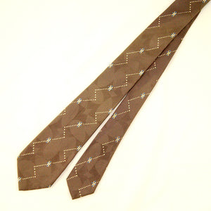 1950s Taupe Geometric Dot Tie by Cats Like Us : Cats Like Us