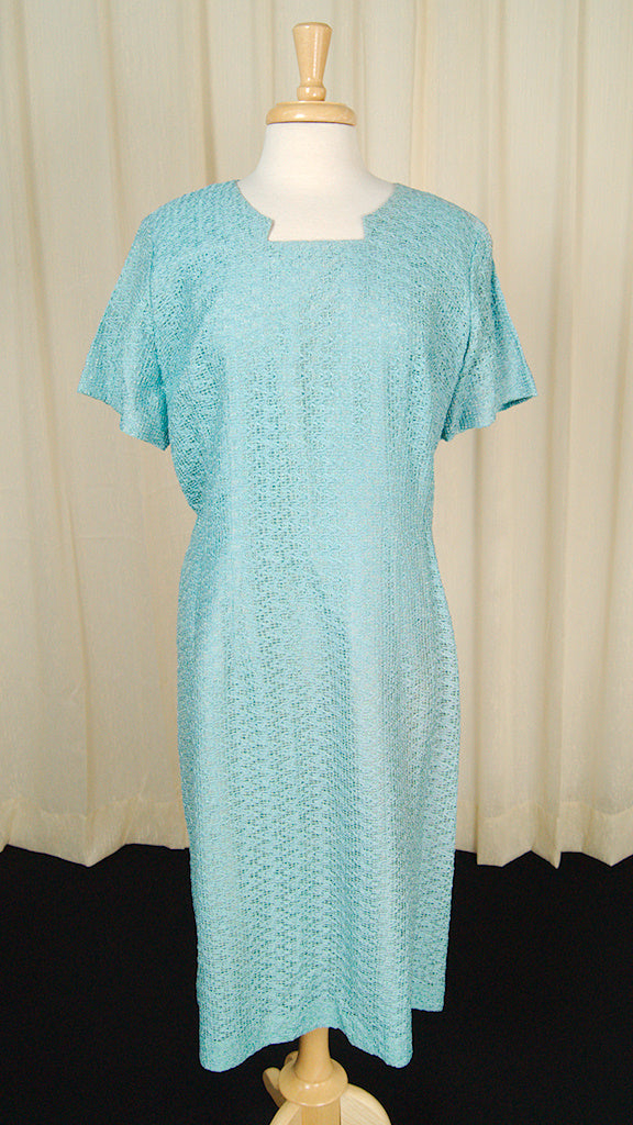 1950s Textured Blue Shift Dress by Cats Like Us - Cats Like Us