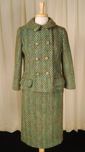 1950s Turq Boucle Skirt Suit by Vintage Collection by Cats Like Us - Cats Like Us
