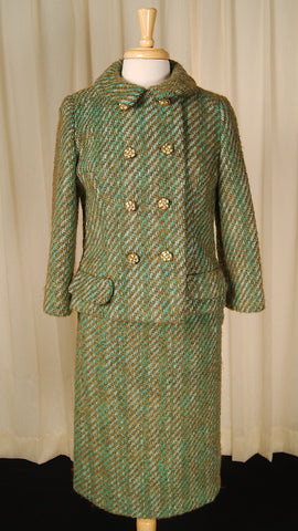 1950s Turq Boucle Skirt Suit
