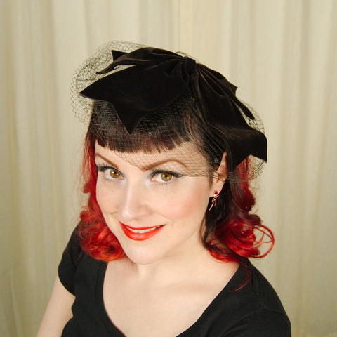 1950s Velvet Bow Fascinator - Cats Like Us