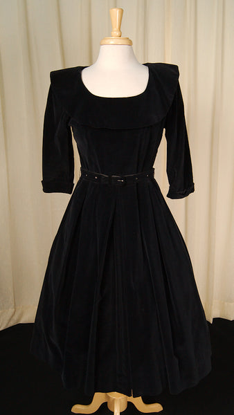 1950s Velvet Rhinestone Dress by Vintage Collection by Cats Like Us - Cats Like Us