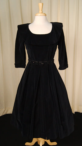 1950s Velvet Rhinestone Dress