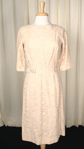 1950s Vintage Champagne Lace Dress