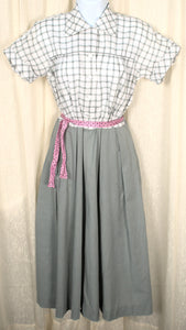 1950s Vintage Gray Plaid Shirt Dress