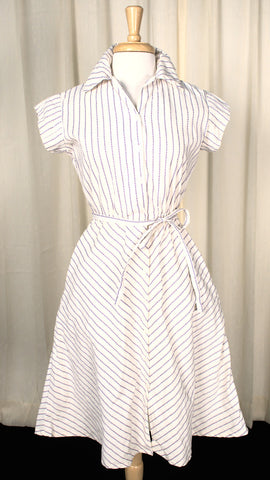 1950s Vintage Purple Striped Shirt Dress