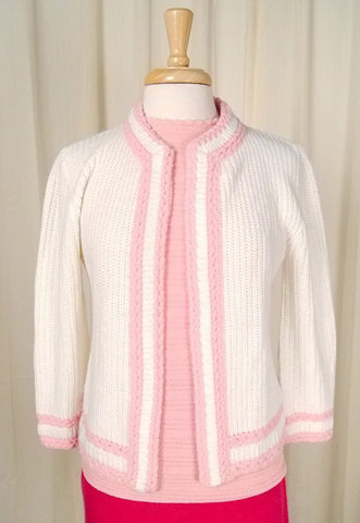 1950s White & Pink Open Cardi - Cats Like Us