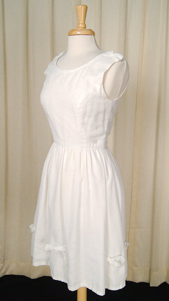 1950s White Bow Swing Dress