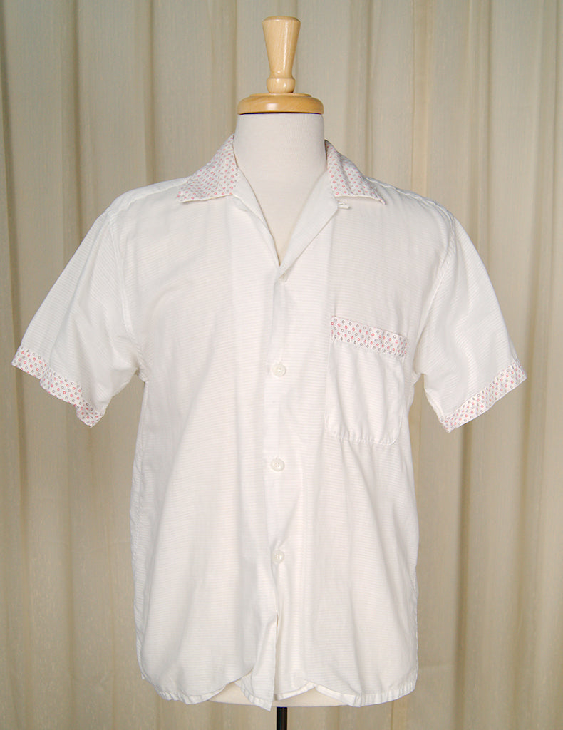 1950s White Circle Trim Shirt