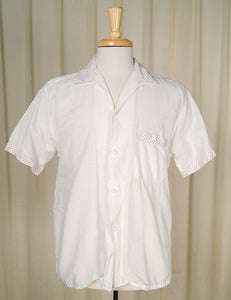 1950s White Circle Trim Shirt by Cats Like Us - Cats Like Us
