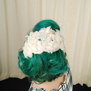 1950s White Floral Crescent Hat by Cats Like Us - Cats Like Us