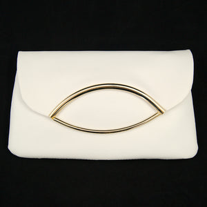 1950s White Fold Over Clutch