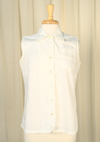 1950s White Sleeveless Vintage Blouse