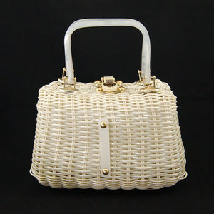 1950s Wicker & Lucite Handbag - Cats Like Us