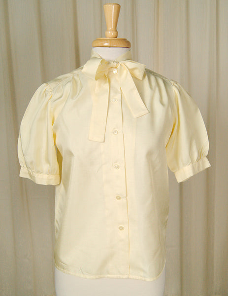 1950s Yellow Bow Collar Blouse by Cats Like Us - Cats Like Us