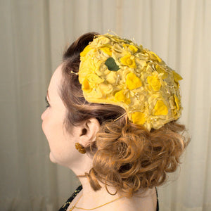 1950s Yellow Floral Cap Hat - Cats Like Us