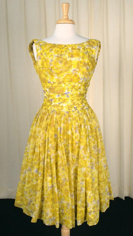 1950s Yellow Floral Party Dress - Cats Like Us
