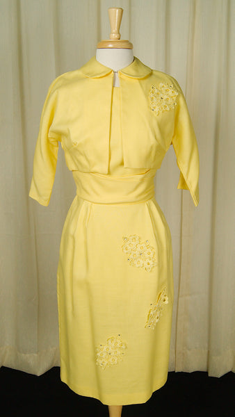 1950s Yellow Rhinestone Suit by Vintage Collection by Cats Like Us - Cats Like Us