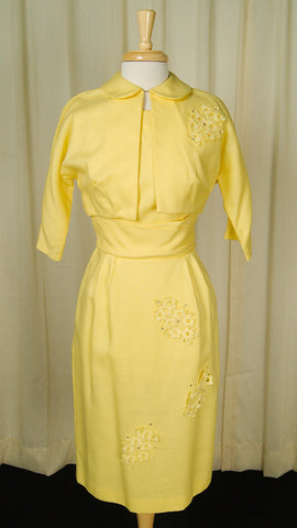 1950s Yellow Rhinestone Suit by Cats Like Us : Cats Like Us
