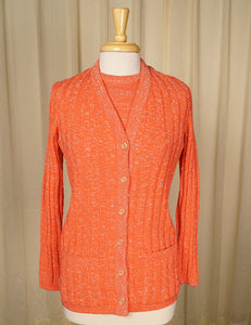 1960s Apricot Sparkle Twin Set by Cats Like Us - Cats Like Us