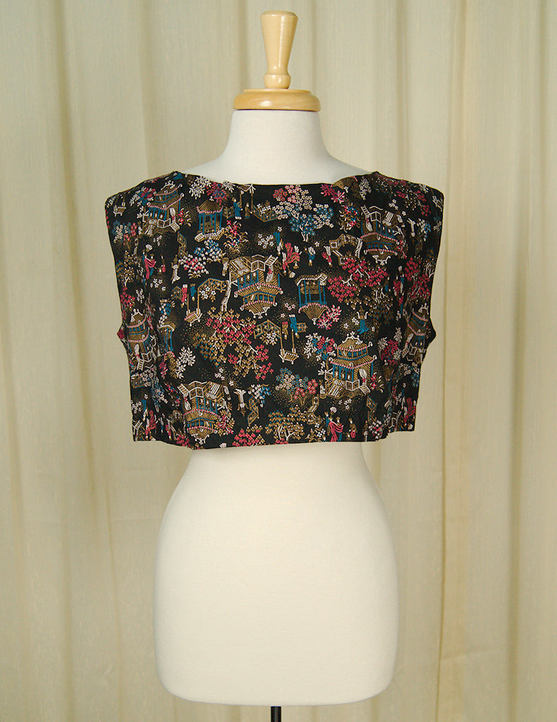 1960s Asian Print Crop Top by Vintage Collection by Cats Like Us - Cats Like Us