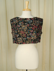 1960s Asian Print Crop Top by Vintage Collection by Cats Like Us : Cats Like Us