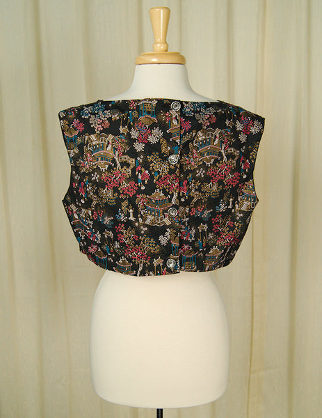 1960s Asian Print Crop Top by Cats Like Us : Cats Like Us
