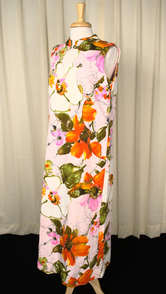 1960s Vintage Asymmetrical Tiki Dress