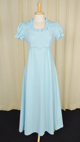1960s Baby Blue Vintage Maxi Dress