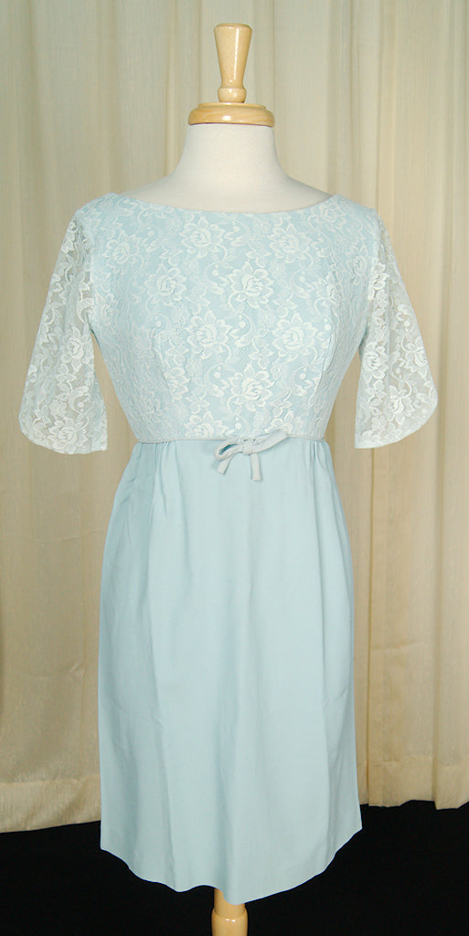1960s Baby Blue Wiggle Dress by Vintage Collection by Cats Like Us - Cats Like Us
