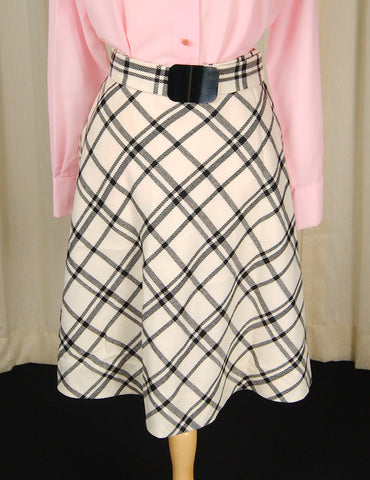 1960s Beige & Black Check Skirt by Cats Like Us - Cats Like Us