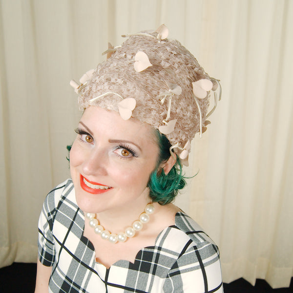 1960s Beige Heart Leaf Hat by Cats Like Us - Cats Like Us