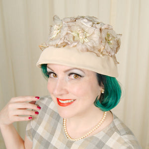 1960s Beige Velvet Floral Hat by Cats Like Us - Cats Like Us