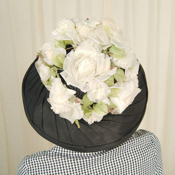1960s Black & Ivory Floral Hat by Cats Like Us - Cats Like Us