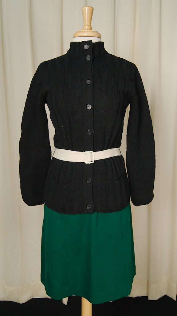 1960s Black Belted Cardigan - Cats Like Us