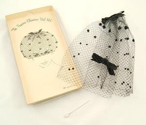 1960s Black Bow Veil Whimsy Hat - Cats Like Us
