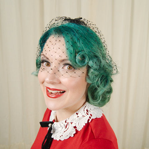 1960s Black Net Bow Veil Whimsy