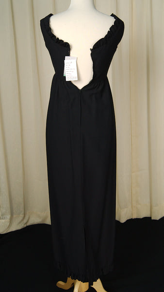 1960s Black Ruffle Maxi Dress by Cats Like Us - Cats Like Us