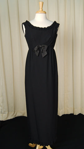 1960s Black Ruffle Maxi Dress